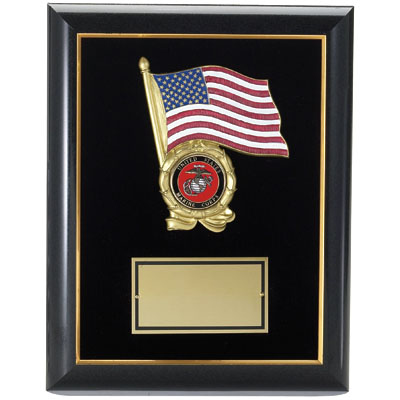 "Black Plaque with American Flag (9""x12"")"