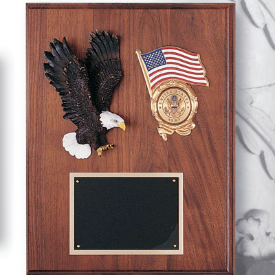 "Walnut Plaque with Eagle (12""x15"")"
